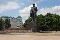 Donetsk, Ukraine - June 12, 2019: Monument to Soviet leader Vladimir Lenin on the central square. Bearing his name royalty free stock image