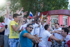 Donetsk, Ukraine - June 11, 2012: Soccer fans from different cou Royalty Free Stock Images