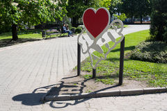 Donetsk, Ukraine - 17. Mai 2017: Installation im Stadtzentrum mit der Aufschrift ` I Liebe das Donetsk-Leute ` s Republik ` Lizenzfreies Stockbild