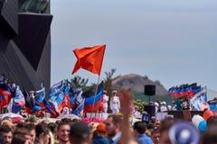 donetsk Ukraine - 9. Mai 2018 Parade zu Ehren des Sieges im Zweiten Weltkrieg stockbilder