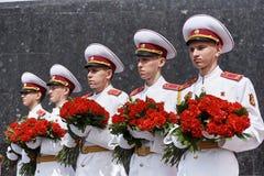 donetsk Ukraine - 9. Mai 2018 Parade zu Ehren des Sieges im Zweiten Weltkrieg stockfotografie