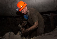 Donetsk, Ukraine - March, 14, 2014: The driver of the coal miner Stock Image