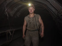 Donetsk, Ukraine - March, 14, 2014: Miner in an underground tunn Royalty Free Stock Images