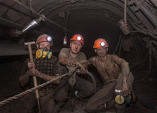Donetsk, Ukraine - March, 14, 2014: The miners working undergrou Stock Photo
