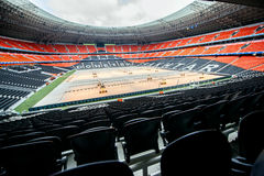 Donbass Arena Stadium in Donetsk, Ukraine. DONETSK, UKRAINE - MARCH 11: Newly built Donbass Arena stadium for 50000 spectators. The stadium was built Royalty Free Stock Images