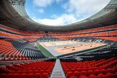 Donbass Arena Stadium in Donetsk, Ukraine. DONETSK, UKRAINE - MARCH 11: Newly built Donbass Arena stadium for 50000 spectators. The stadium was built Stock Image