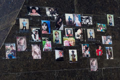 Donetsk, Ukraine - March, 25, 2015: Photos of the victims of the civil war children Donbass in the central square Royalty Free Stock Photography