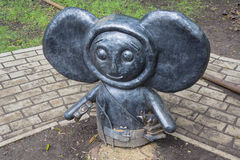 Donetsk, Ukraine - May 09, 2017: Metal statue of the folk hero Cheburashka in the park Stock Images