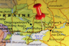 Donetsk Ukraine pinned map Royalty Free Stock Image