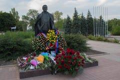 Donetsk, Ukraine - September 02, 2018: Flowers at the monument to the famous singer Iosef Kobzon. Donetsk, Ukraine - September 02, 2018: Flowers at the monument stock images