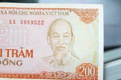 Dong banonote papiergeld 200 dong uot kant 1 van Vietnam Stock Afbeelding