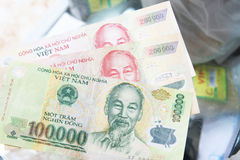 Dong banonote papiergeld van Vietnam Stock Afbeeldingen