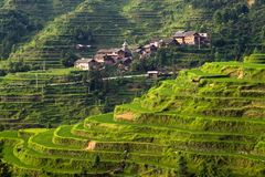 Chinese Village on the rice terrace royalty free stock photos