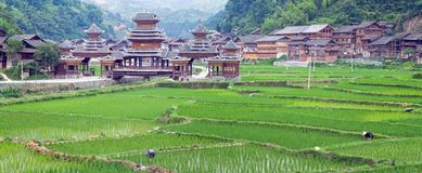 Chinese Village on the rice terrace Stock Image