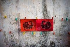 Dong Ho-schilderijen op oude oude muur Het volks de houtdruk van Dong Ho oude schilderen, een esthetisch symbool in de cultuur va stock foto