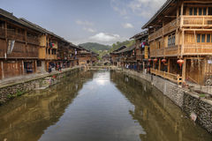 Dong houses with reflections, Zhaoxing Dong village, Guizhou Pro Royalty Free Stock Photography