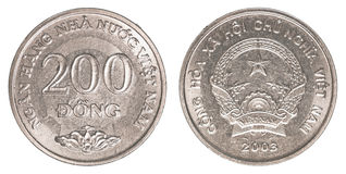 Dong-Münze mit 200 Vietnamesen Stockfoto