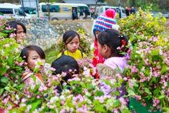 DONG VAN, HA GIANG, VIETNAM, el 18 de diciembre de 2017: La minoría étnica no identificada embroma con las cestas de flor de la r Fotos de archivo