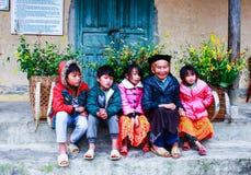 VAN, HA GIANG, VIETNAM, November 18th, 2017: Unidentified ethnic minority kids with baskets of rapeseed flower in Hagiang. stock images