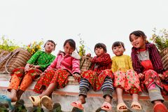 VAN, HA GIANG, VIETNAM, November 18th, 2017: Unidentified ethnic minority kids with baskets of rapeseed flower in Hagiang. Royalty Free Stock Image