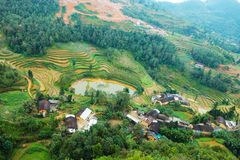 VAN, HA GIANG, VIETNAM, October 27th, 2018:spring on, the simple houses, blooming peach flowers trees, rock plateau. Where Ha Giang, Vietnam northernmost stock photo
