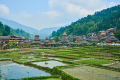 Dong Village, Guizhou, China. Chinese Dong Village Zhaoxing with the rice terrace from top of the hill, Province of Guizhou, China Royalty Free Stock Image