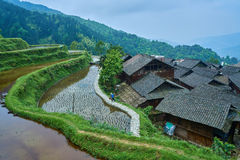 Dong Village, Guizhou, China. Chinese Dong Village Zhaoxing with the rice terrace from top of the hill, Province of Guizhou, China Stock Photos