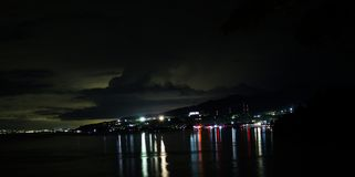 Dongala / Palu City by night. Dongala / Palu City in Sulawesi / Indonesia by night  before the earthquake and tsunami of 2018 royalty free stock images