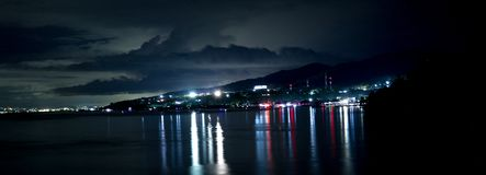 Dongala / Palu City by night. Dongala / Palu City in Sulawesi / Indonesia by night  before the earthquake and tsunami of 2018 stock image
