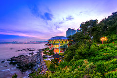 Dongbaek island with Nurimaru APEC House and Gwangan bridge at s Stock Images