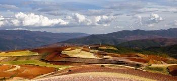 Dongchuan, земля красного цвета Юньнань Стоковые Фотографии RF