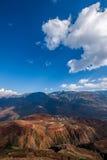 Dongchuan, fossa sunsetting della terra rossa del Yunnan a terrazze Fotografia Stock