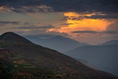 Dongchuan rött land av Yunnan arkivfoto