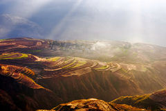 Dongchuan Red Land sunsetting ditch. Eastphoto, tukuchina,  Dongchuan Red Land sunsetting ditch Royalty Free Stock Image