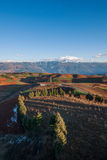 Dongchuan, Yunnan Province after snow Colorful slope Red Land Stock Photo