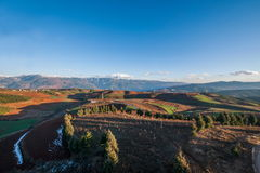 Dongchuan, Yunnan Province after snow Colorful slope Red Land Royalty Free Stock Photos