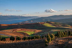 Dongchuan, Yunnan Province after snow Colorful slope Red Land Royalty Free Stock Image