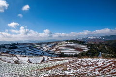 Dongchuan, Yunnan Red Land snowy field in the Score concave Terraces Stock Photography