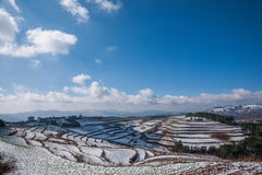 Dongchuan, Yunnan Red Land snowy field in the Score concave Terraces Royalty Free Stock Image