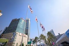 Dongdaemun都市风景2017年6月18日的 它是商务和 库存照片