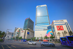 Dongdaemun都市风景2017年6月18日的 它是商务和 库存图片