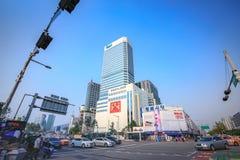 Dongdaemun都市风景2017年6月18日的 它是商务和 免版税库存照片