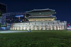 Dongdaemun nel paesaggio urbano di notte in Corea Fotografie Stock Libere da Diritti