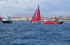 Dongfeng Dodging The Spectator Boats Volvo Ocean Race Alicante 2017 royalty free stock photography