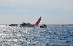 Dongfeng Squeezing Between The Spectator Boats Volvo Ocean Race Alicante 2017 Royalty Free Stock Photography