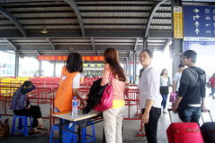 Dongguan china: at the bus station for tourists Stock Image