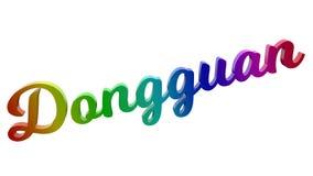 Dongguan-Stadt-Name kalligraphisches 3D machte Text-Illustration gefärbt mit RGB-Regenbogen-Steigung Stockbild