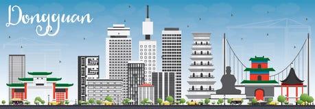 Dongguanhorizon met Gray Buildings en Blauwe Hemel Stock Afbeelding