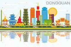 Dongguanhorizon met Kleurengebouwen, Blauwe Hemel en Bezinningen vector illustratie