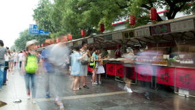Donghuamen snack street at daytime HD. stock video footage